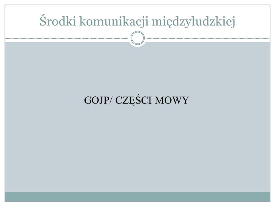 Środki komunikacji międzyludzkiej GOJP/ CZĘŚCI MOWY