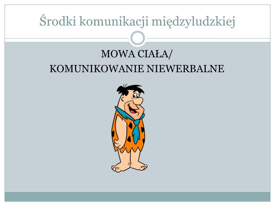 Środki komunikacji międzyludzkiej MOWA CIAŁA/ KOMUNIKOWANIE NIEWERBALNE