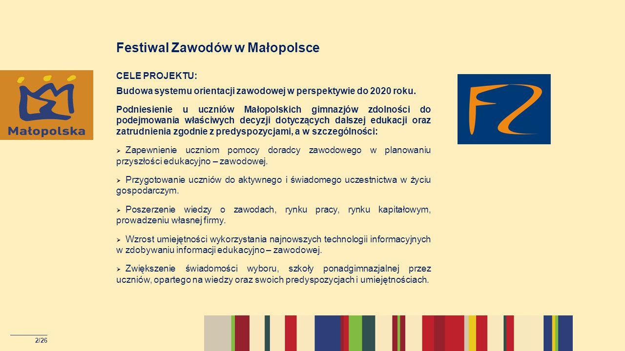 Targi edukacyjne – Festiwal Zawodów w Małopolsce w 2014 roku Liczba odwiedzających targi – ponad 15 000 Uczniowie którzy skorzystali z poradnictwa zawodowego podczas targów – 960 osób 13/26