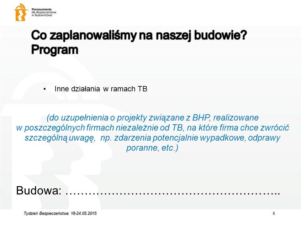 Inne działania w ramach TB Budowa: ……………………………………………….. (do uzupełnienia o projekty związane z BHP, realizowane w poszczególnych firmach niezależnie o