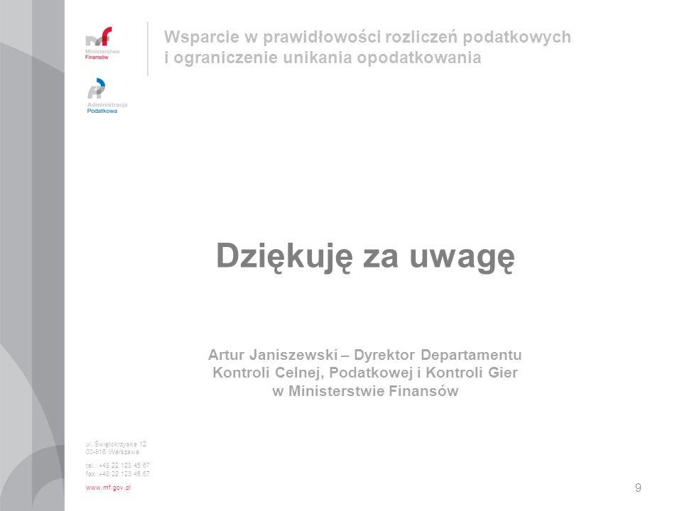 ul. Świętokrzyska 12 00-916 Warszawa tel.: +48 22 123 45 67 fax :+48 22 123 45 67 www.mf.gov.pl Dziękuję za uwagę Artur Janiszewski – Dyrektor Departa