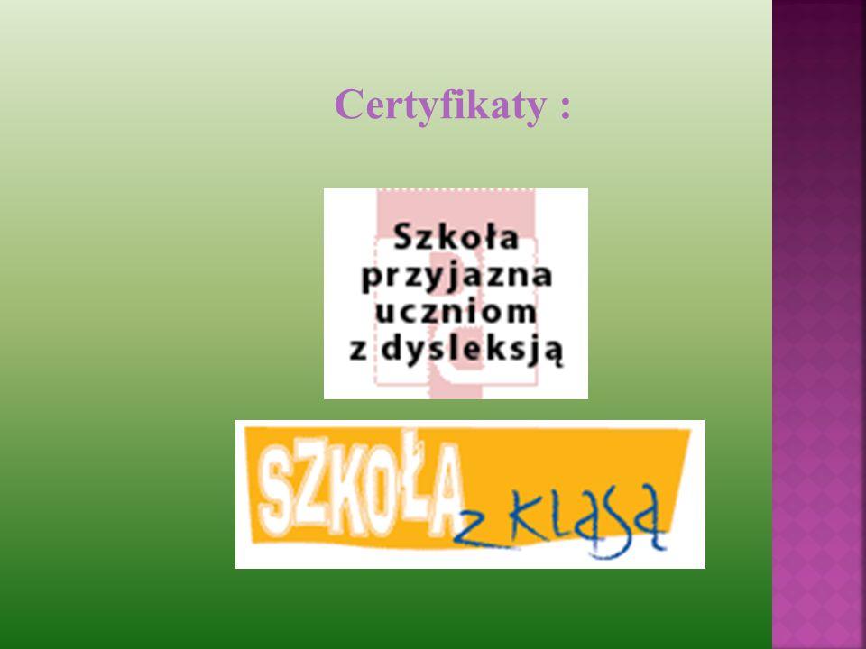 Certyfikaty :