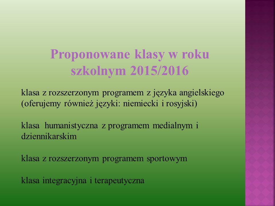 Proponowane klasy w roku szkolnym 2015/2016 klasa z rozszerzonym programem z języka angielskiego (oferujemy również języki: niemiecki i rosyjski) klasa humanistyczna z programem medialnym i dziennikarskim klasa z rozszerzonym programem sportowym klasa integracyjna i terapeutyczna