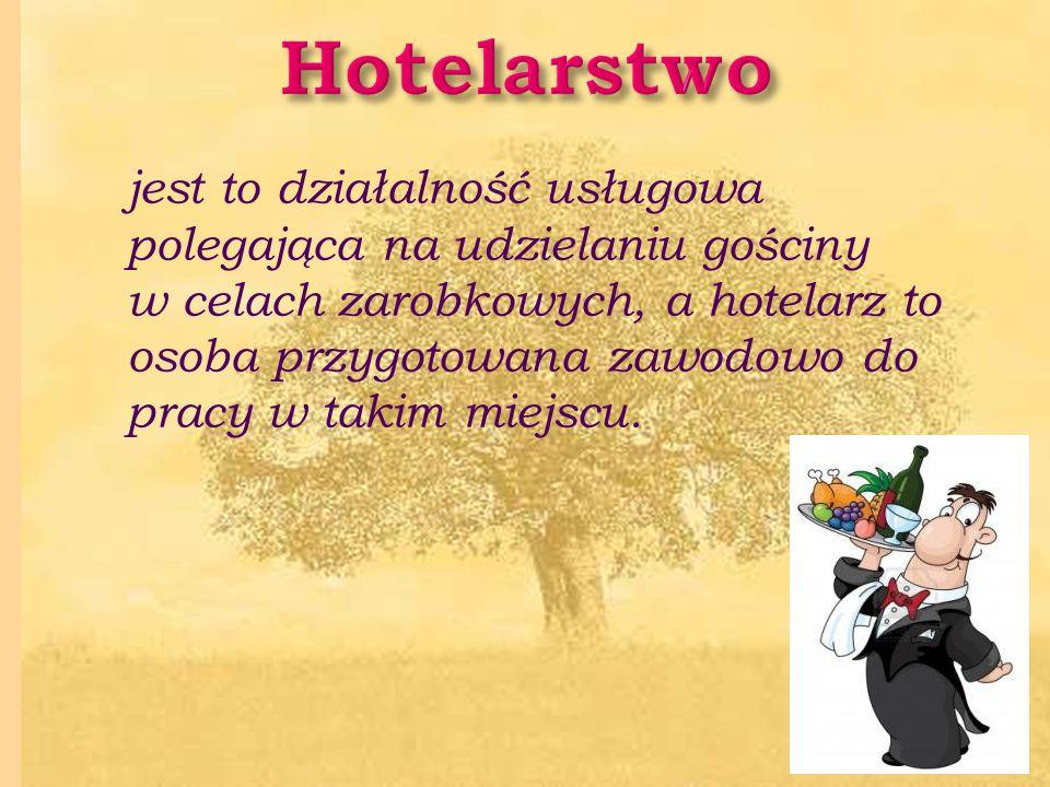 jest to działalność usługowa polegająca na udzielaniu gościny w celach zarobkowych, a hotelarz to osoba przygotowana zawodowo do pracy w takim miejscu