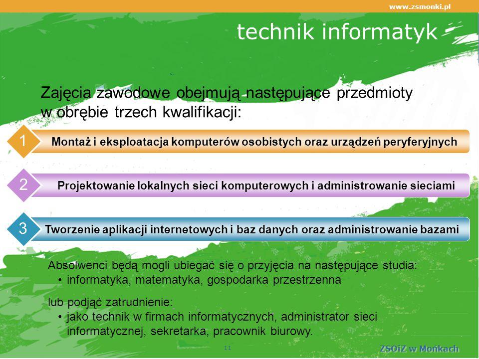 www.zsmonki.pl ZSOiZ w Mońkach technik informatyk Montaż i eksploatacja komputerów osobistych oraz urządzeń peryferyjnych 1 Projektowanie lokalnych sieci komputerowych i administrowanie sieciami 2 Tworzenie aplikacji internetowych i baz danych oraz administrowanie bazami 3 11 Zajęcia zawodowe obejmują następujące przedmioty w obrębie trzech kwalifikacji: Absolwenci będą mogli ubiegać się o przyjęcia na następujące studia: informatyka, matematyka, gospodarka przestrzenna lub podjąć zatrudnienie: jako technik w firmach informatycznych, administrator sieci informatycznej, sekretarka, pracownik biurowy.