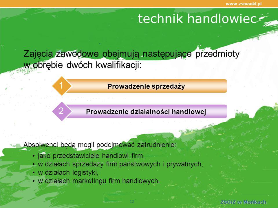 www.zsmonki.pl ZSOiZ w Mońkach technik handlowiec 12 Zajęcia zawodowe obejmują następujące przedmioty w obrębie dwóch kwalifikacji: jako przedstawiciele handlowi firm, w działach sprzedaży firm państwowych i prywatnych, w działach logistyki, w działach marketingu firm handlowych.