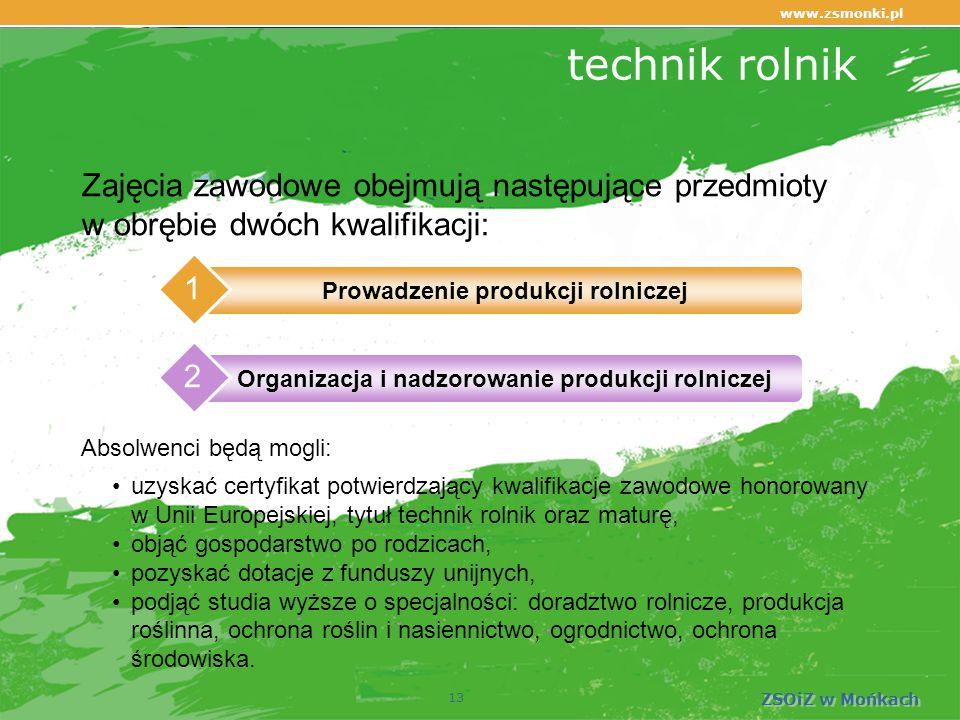 www.zsmonki.pl ZSOiZ w Mońkach technik rolnik 13 Zajęcia zawodowe obejmują następujące przedmioty w obrębie dwóch kwalifikacji: uzyskać certyfikat potwierdzający kwalifikacje zawodowe honorowany w Unii Europejskiej, tytuł technik rolnik oraz maturę, objąć gospodarstwo po rodzicach, pozyskać dotacje z funduszy unijnych, podjąć studia wyższe o specjalności: doradztwo rolnicze, produkcja roślinna, ochrona roślin i nasiennictwo, ogrodnictwo, ochrona środowiska.