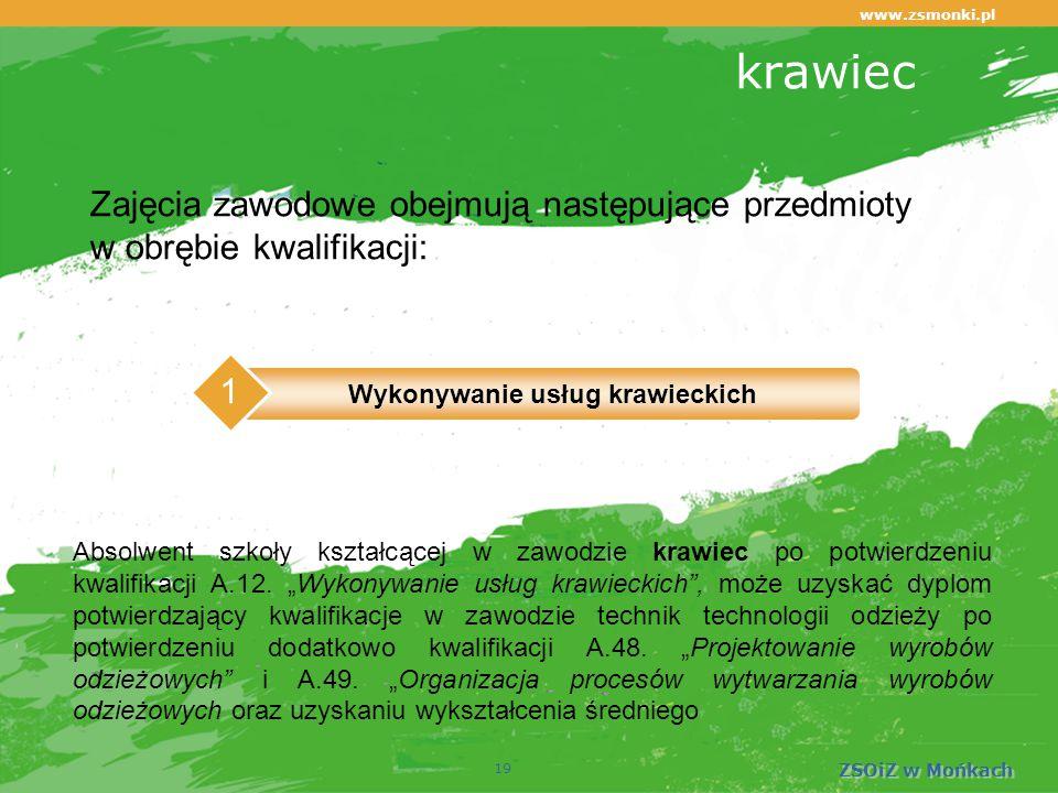 www.zsmonki.pl ZSOiZ w Mońkach krawiec 19 Absolwent szkoły kształcącej w zawodzie krawiec po potwierdzeniu kwalifikacji A.12.