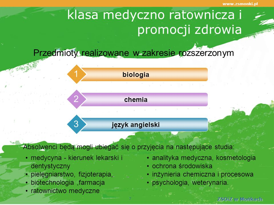www.zsmonki.pl ZSOiZ w Mońkach klasa medyczno ratownicza i promocji zdrowia biologia 1 chemia 2 język angielski 3 7 Przedmioty realizowane w zakresie rozszerzonym medycyna - kierunek lekarski i dentystyczny pielęgniarstwo, fizjoterapia, biotechnologia,farmacja ratownictwo medyczne analityka medyczna, kosmetologia ochrona środowiska inżynieria chemiczna i procesowa psychologia, weterynaria.