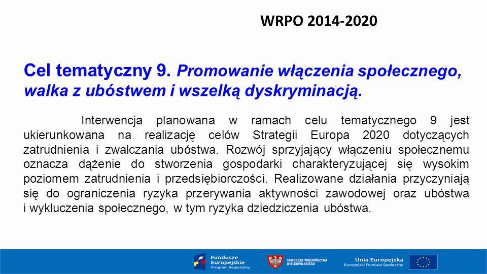 WRPO 2014-2020 Cel tematyczny 9. Promowanie włączenia społecznego, walka z ubóstwem i wszelką dyskryminacją. Interwencja planowana w ramach celu temat