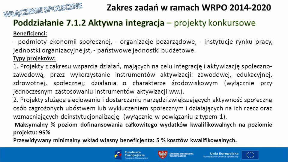 Zakres zadań w ramach WRPO 2014-2020