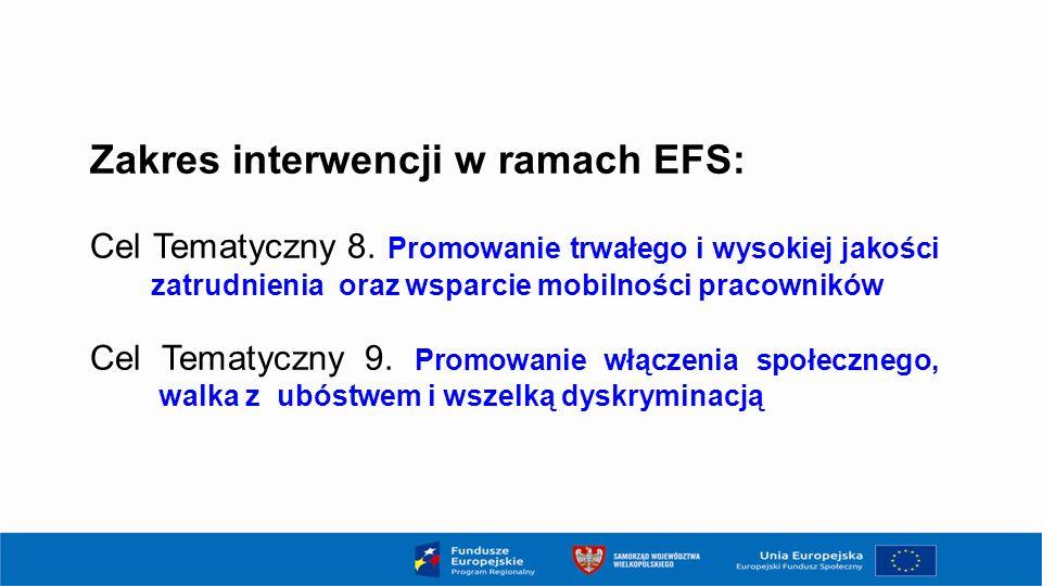 Zakres interwencji w ramach EFS: Cel Tematyczny 8. Promowanie trwałego i wysokiej jakości zatrudnienia oraz wsparcie mobilności pracowników Cel Tematy