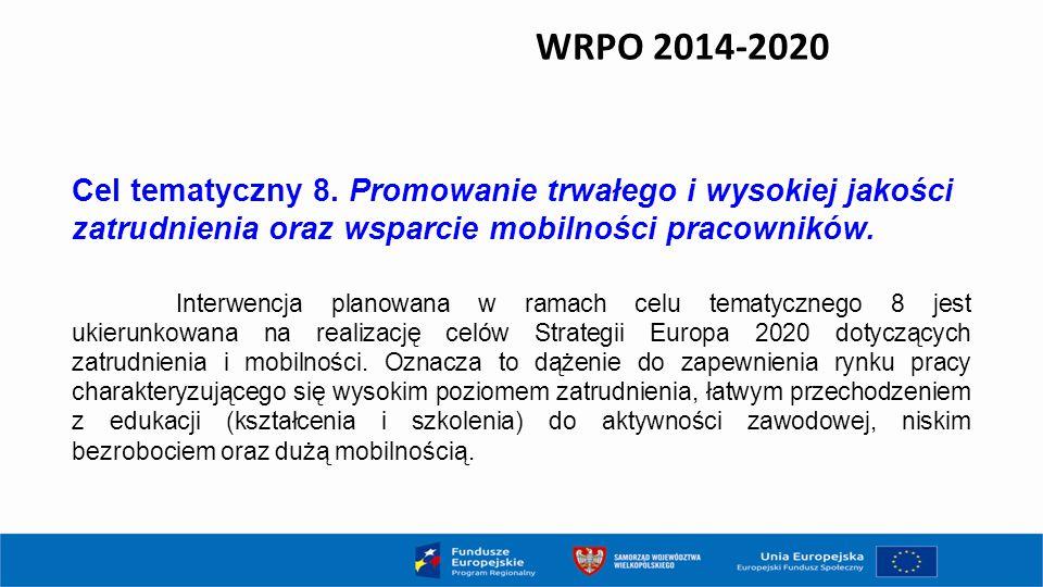 WRPO 2014-2020 Cel tematyczny 8. Promowanie trwałego i wysokiej jakości zatrudnienia oraz wsparcie mobilności pracowników. Interwencja planowana w ram