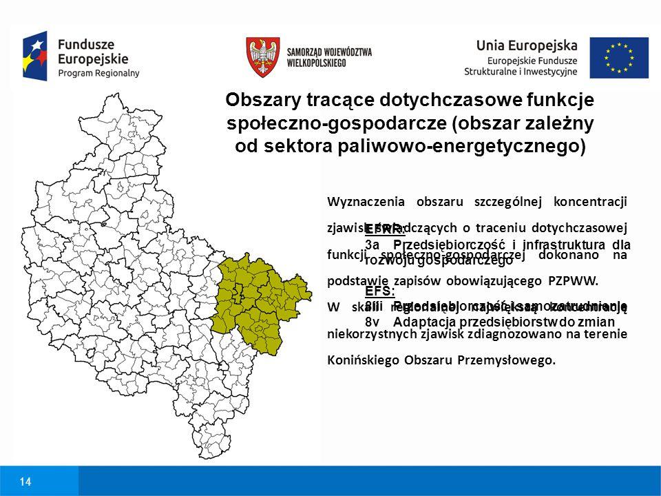 14 Obszary tracące dotychczasowe funkcje społeczno-gospodarcze (obszar zależny od sektora paliwowo-energetycznego) EFRR: 3a Przedsiębiorczość i infras