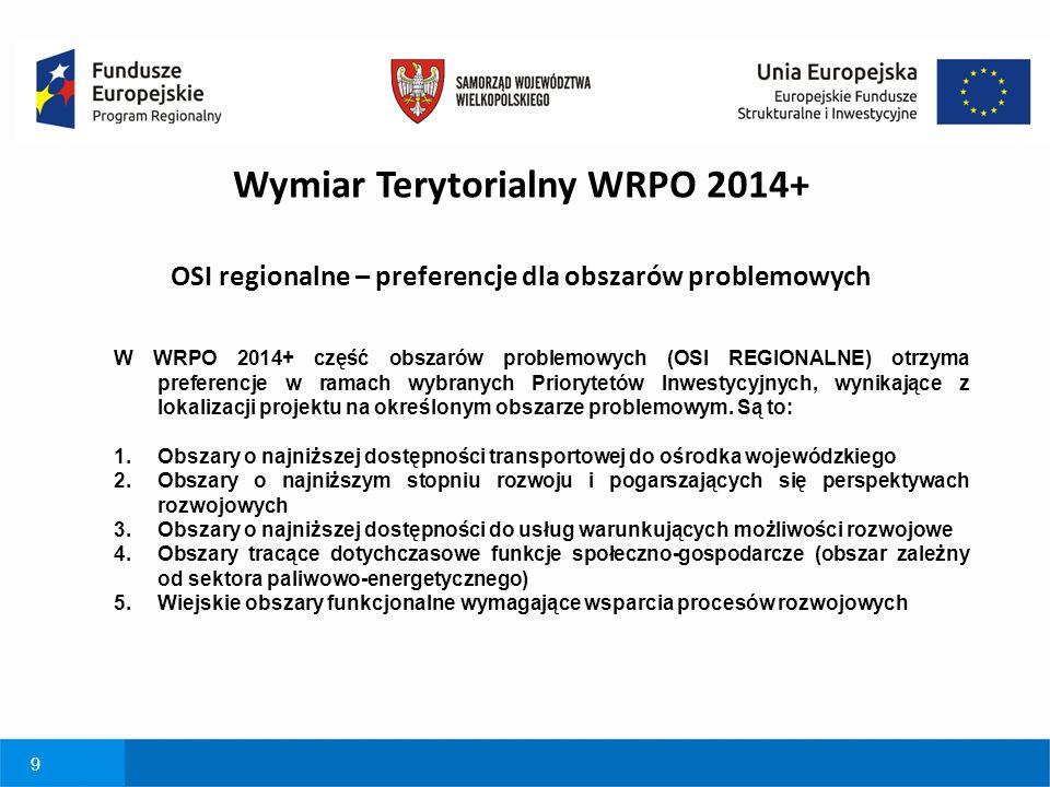 9 W WRPO 2014+ część obszarów problemowych (OSI REGIONALNE) otrzyma preferencje w ramach wybranych Priorytetów Inwestycyjnych, wynikające z lokalizacj