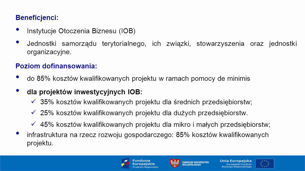 Beneficjenci: Instytucje Otoczenia Biznesu (IOB) Jednostki samorządu terytorialnego, ich związki, stowarzyszenia oraz jednostki organizacyjne.