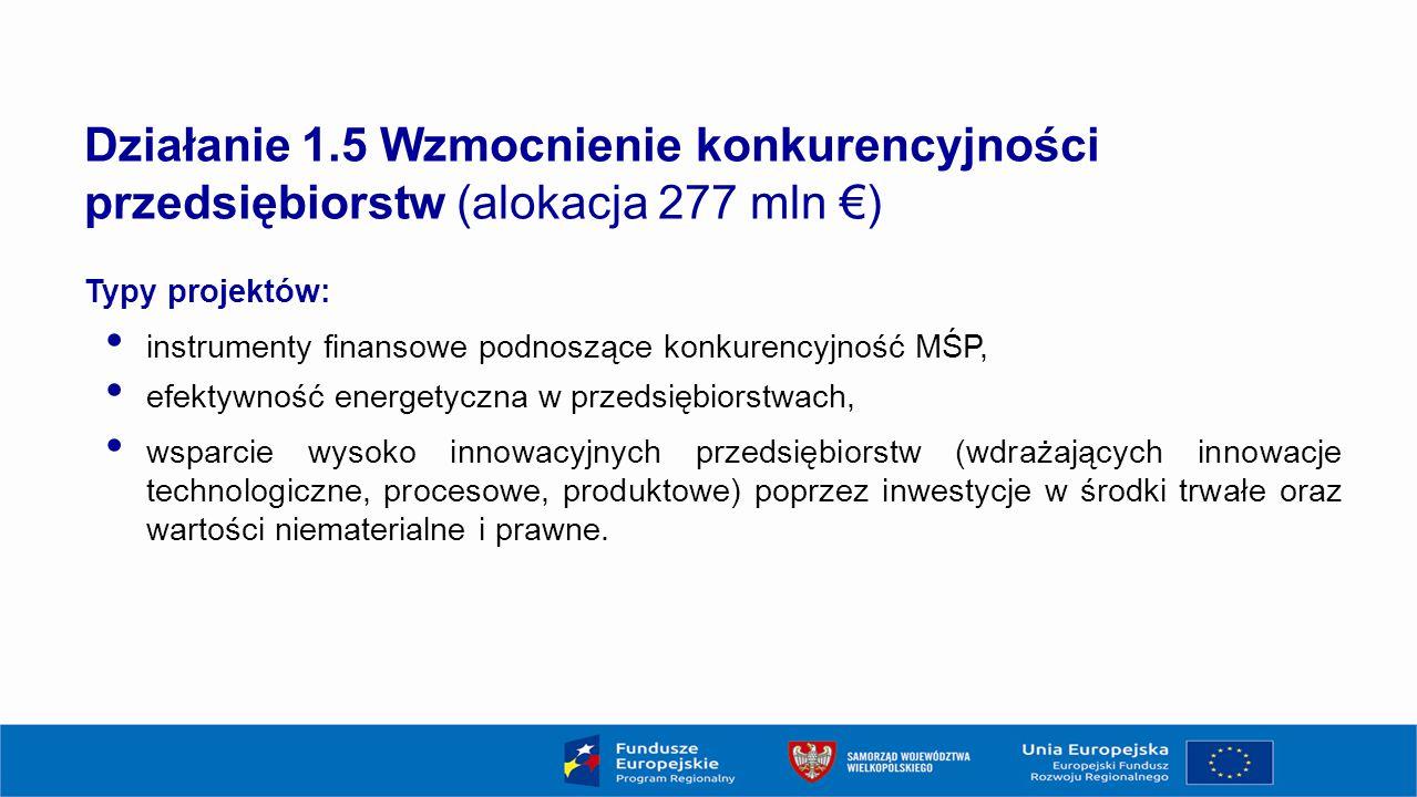 18 Działanie 1.5 Wzmocnienie konkurencyjności przedsiębiorstw (alokacja 277 mln €) Typy projektów: instrumenty finansowe podnoszące konkurencyjność MŚP, efektywność energetyczna w przedsiębiorstwach, wsparcie wysoko innowacyjnych przedsiębiorstw (wdrażających innowacje technologiczne, procesowe, produktowe) poprzez inwestycje w środki trwałe oraz wartości niematerialne i prawne.