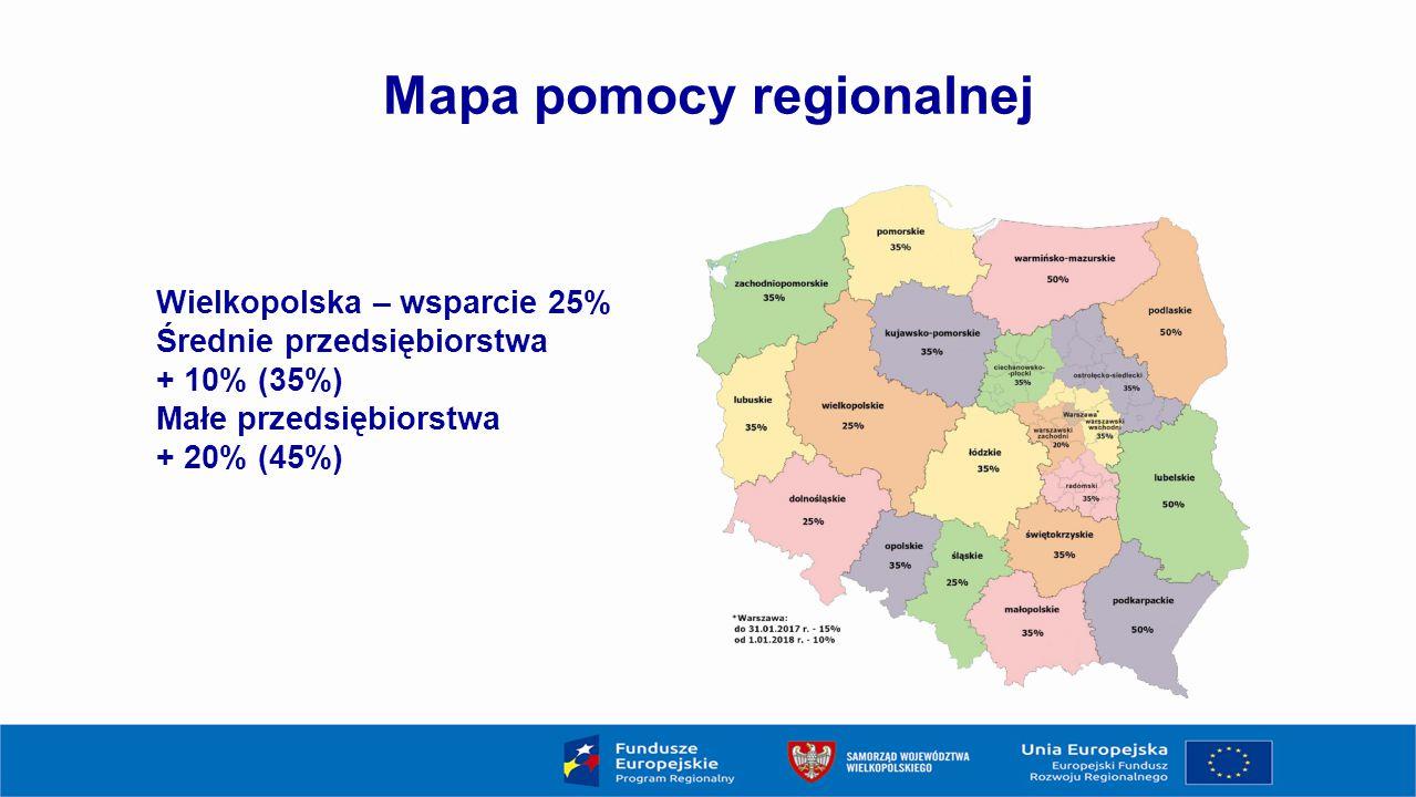 Mapa pomocy regionalnej Wielkopolska – wsparcie 25% Średnie przedsiębiorstwa + 10% (35%) Małe przedsiębiorstwa + 20% (45%)