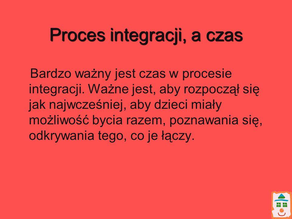 Proces integracji, a czas Bardzo ważny jest czas w procesie integracji. Ważne jest, aby rozpoczął się jak najwcześniej, aby dzieci miały możliwość byc