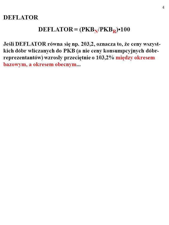 4 DEFLATOR DEFLATOR = (PKB N /PKB R )100 Jeśli DEFLATOR równa się np.