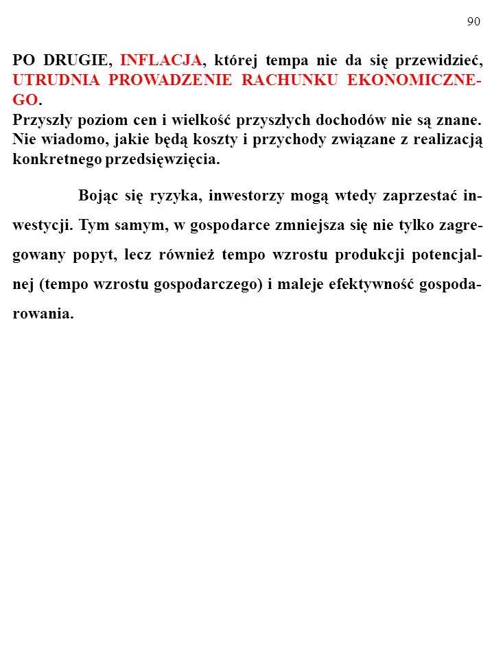 89 PO DRUGIE, INFLACJA, której tempa nie da się przewidzieć, UTRUDNIA PROWADZENIE RACHUNKU EKONOMICZNE- GO.