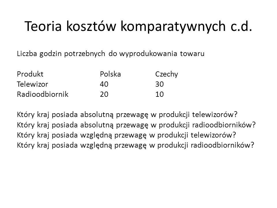 Teoria kosztów komparatywnych c.d. Liczba godzin potrzebnych do wyprodukowania towaru ProduktPolskaCzechy Telewizor4030 Radioodbiornik2010 Który kraj