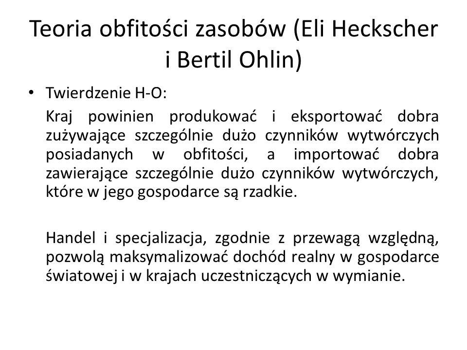 Teoria obfitości zasobów (Eli Heckscher i Bertil Ohlin) Twierdzenie H-O: Kraj powinien produkować i eksportować dobra zużywające szczególnie dużo czyn