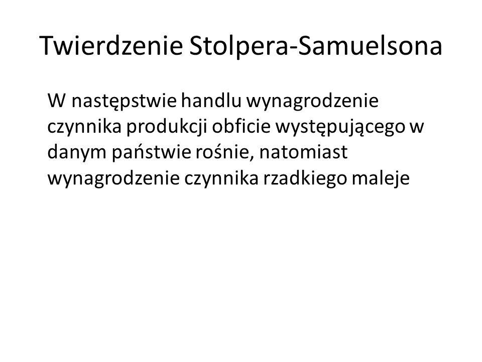 Twierdzenie Stolpera-Samuelsona W następstwie handlu wynagrodzenie czynnika produkcji obficie występującego w danym państwie rośnie, natomiast wynagro