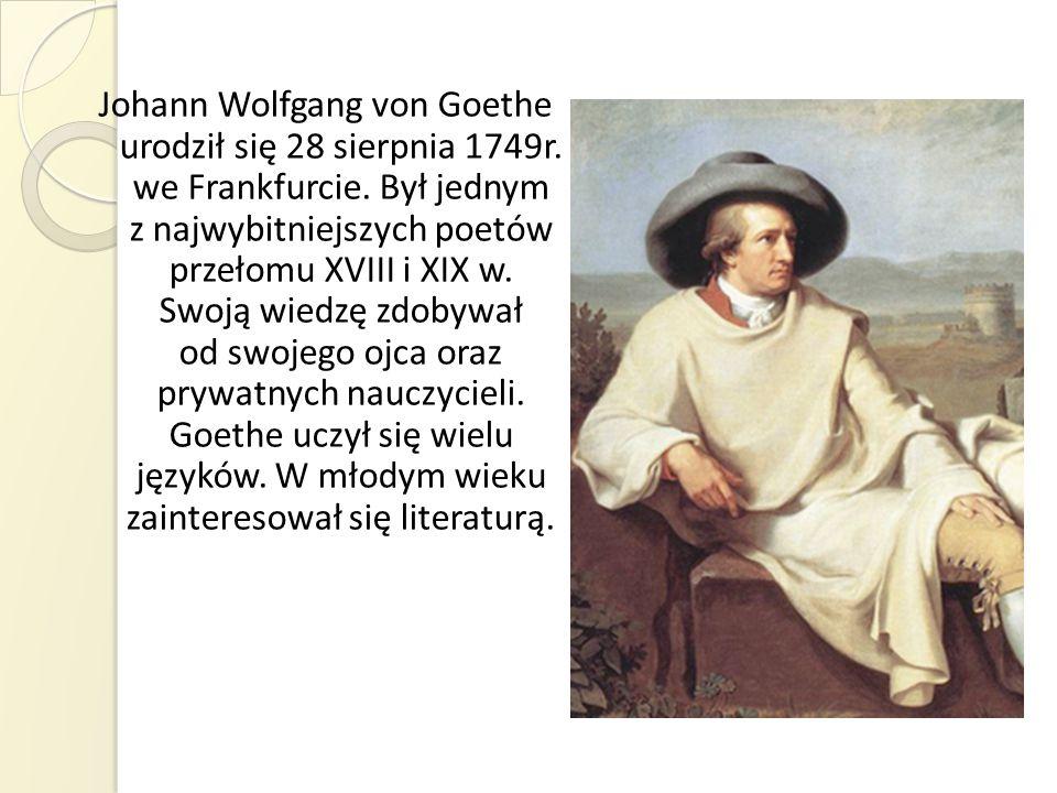 W 1765 r.poeta opuścił rodzinną miejscowość, aby podjąć studia prawnicze w Lipsku.