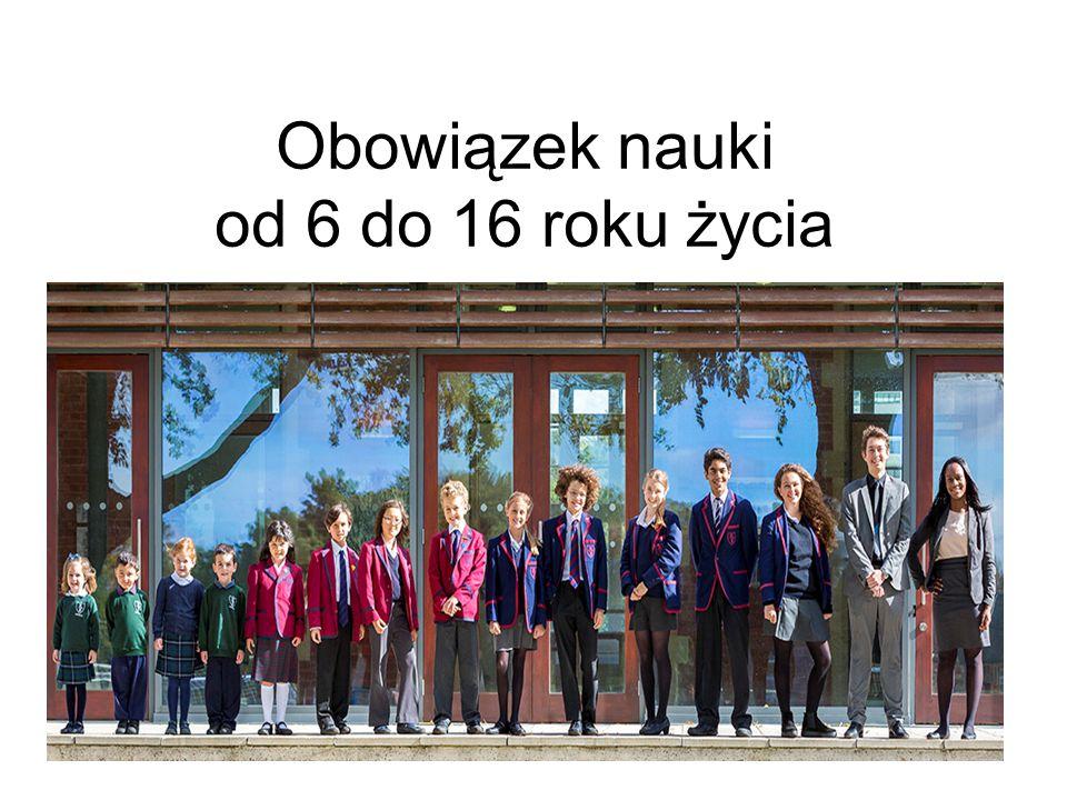 Etapy szkolnictwa Szkoła podstawowa (Primary School) wiek 6-11 lat Gimnazjum (Lower Secondary School) wiek 12 – 16 Liceum (High School) wiek 17 -19 Szkolnictwo wyższe (College – 3 lata, University – 5 lat)
