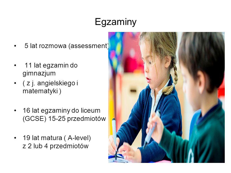 Egzaminy 5 lat rozmowa (assessment) 11 lat egzamin do gimnazjum ( z j.