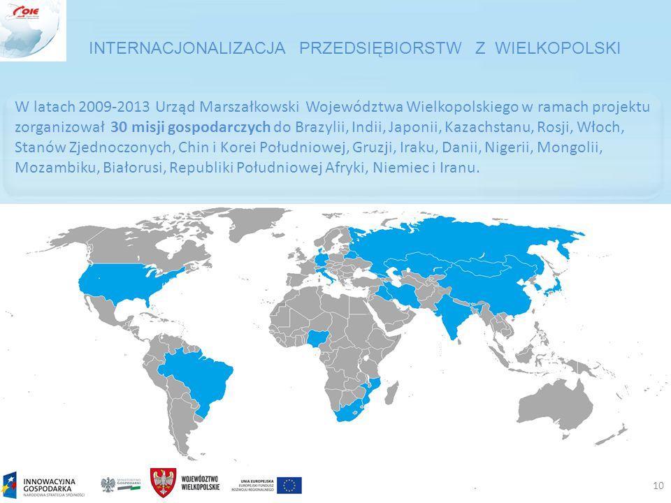 .10 W latach 2009-2013 Urząd Marszałkowski Województwa Wielkopolskiego w ramach projektu zorganizował 30 misji gospodarczych do Brazylii, Indii, Japonii, Kazachstanu, Rosji, Włoch, Stanów Zjednoczonych, Chin i Korei Południowej, Gruzji, Iraku, Danii, Nigerii, Mongolii, Mozambiku, Białorusi, Republiki Południowej Afryki, Niemiec i Iranu.