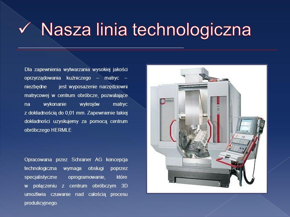 Dla zapewnienia wytwarzania wysokiej jakości oprzyrządowania kuźniczego – matryc – niezbędne jest wyposażenie narzędziowni matrycowej w centrum obróbcze, pozwalające na wykonanie wykrojów matryc z dokładnością do 0,01 mm.