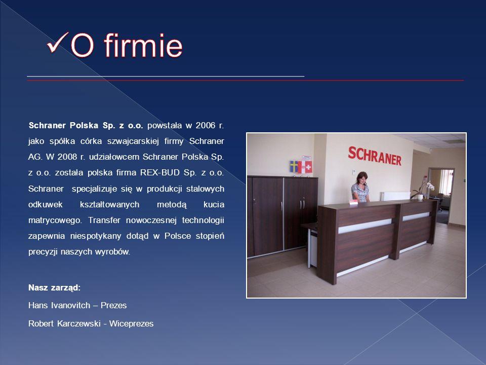 Schraner Polska Sp.z o.o. powstała w 2006 r. jako spółka córka szwajcarskiej firmy Schraner AG.