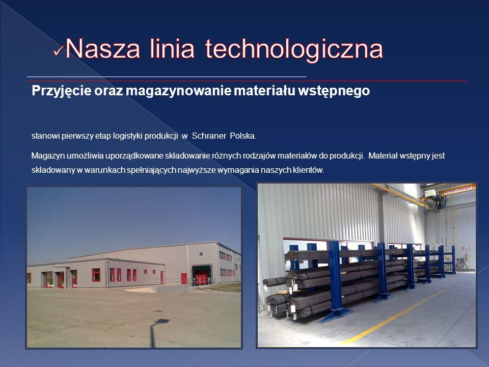 Przyjęcie oraz magazynowanie materiału wstępnego stanowi pierwszy etap logistyki produkcji w Schraner Polska.