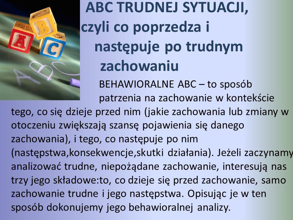 ABC TRUDNEJ SYTUACJI, czyli co poprzedza i następuje po trudnym zachowaniu BEHAWIORALNE ABC – to sposób patrzenia na zachowanie w kontekście tego, co