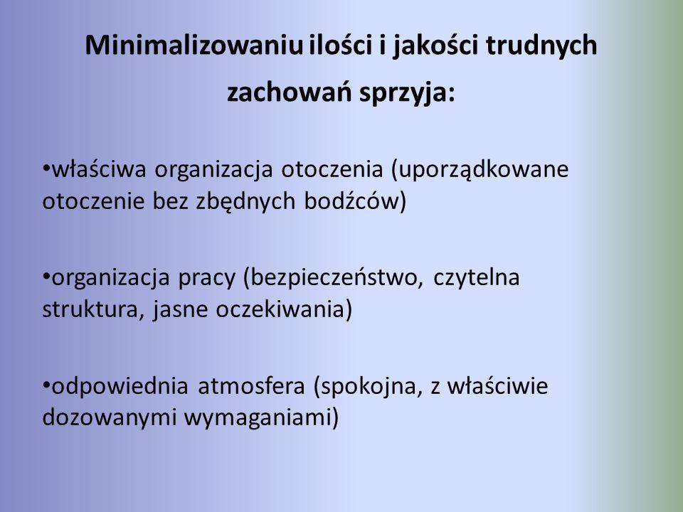 Minimalizowaniu ilości i jakości trudnych zachowań sprzyja: właściwa organizacja otoczenia (uporządkowane otoczenie bez zbędnych bodźców) organizacja