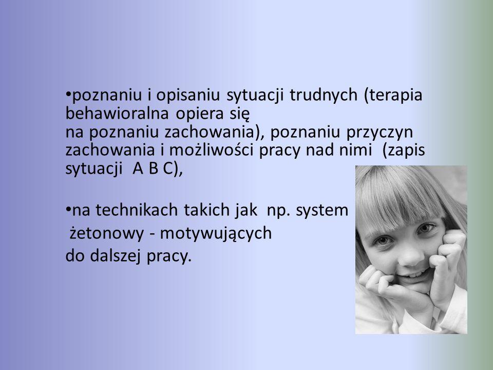 poznaniu i opisaniu sytuacji trudnych (terapia behawioralna opiera się na poznaniu zachowania), poznaniu przyczyn zachowania i możliwości pracy nad ni