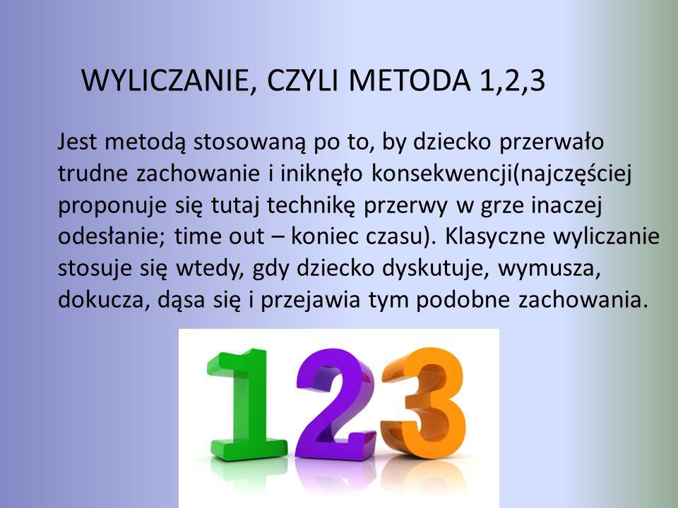 WYLICZANIE, CZYLI METODA 1,2,3 Jest metodą stosowaną po to, by dziecko przerwało trudne zachowanie i iniknęło konsekwencji(najczęściej proponuje się t
