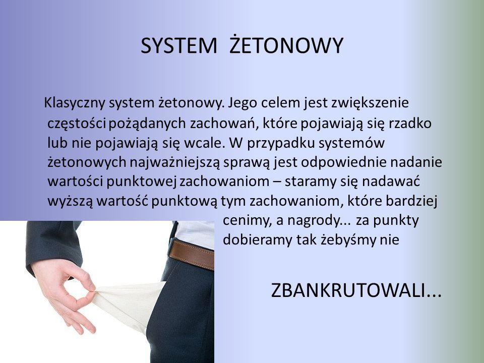 SYSTEM ŻETONOWY Klasyczny system żetonowy. Jego celem jest zwiększenie częstości pożądanych zachowań, które pojawiają się rzadko lub nie pojawiają się