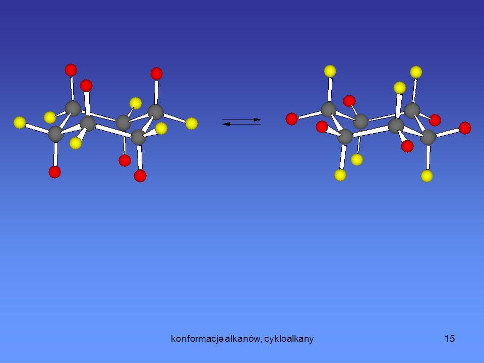 konformacje alkanów, cykloalkany16 Inaczej wygląda sytuacja gdy pierścień cykloheksanu podstawiony jest jakąś grupą inną niż atom wodoru, ponieważ wtedy konformacja cykloheksanu, w której nowy podstawnik znajduje się w pozycji aksjalnej jest wysoce niekorzystna energetyczne.