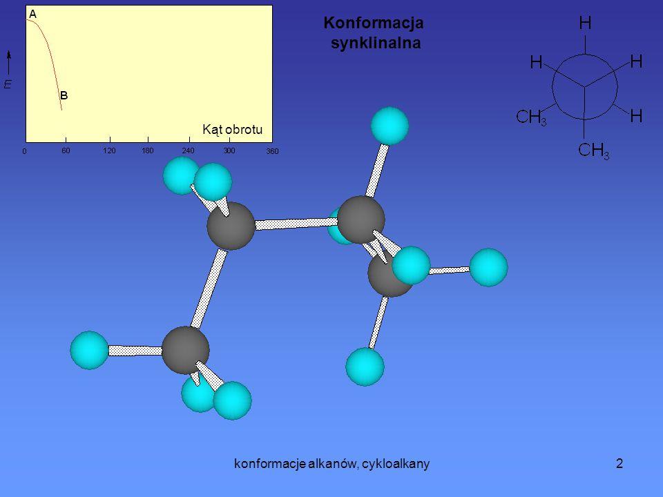 konformacje alkanów, cykloalkany3 Kąt obrotu Konformacja antyklinalna