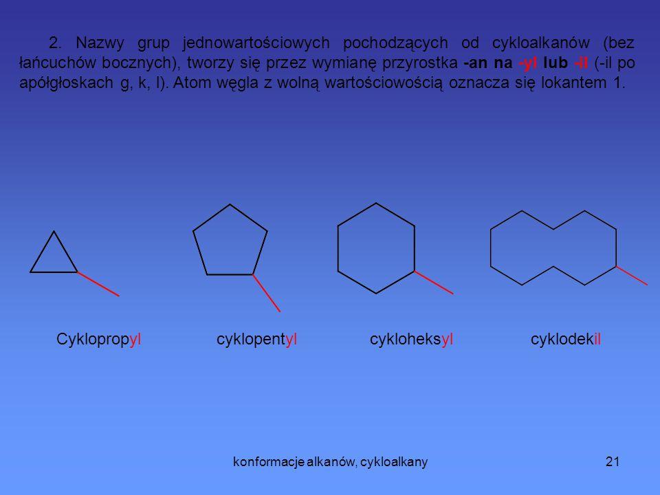 konformacje alkanów, cykloalkany22 3.