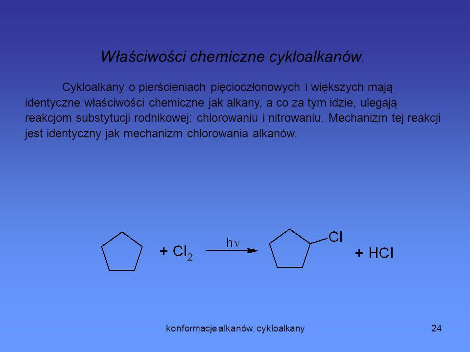 konformacje alkanów, cykloalkany25 Metody syntezy cykloalkanów Cyklizacji najłatwiej ulegają łańcuchy z których mogą powstać pierścienie pięcio- i sześcioczłonowe.