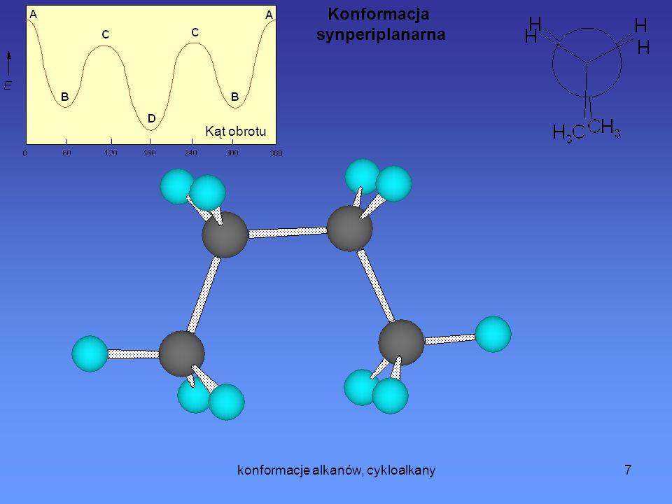 konformacje alkanów, cykloalkany8 Cykloalkany Teoria naprężeń Baeyera Zgodnie z teorią wartościowości Kekulego, Butlerowa i Coupera atomy węgla w związkach organicznych mogą się ze sobą łączyć w łańcuchy i pierścienie.
