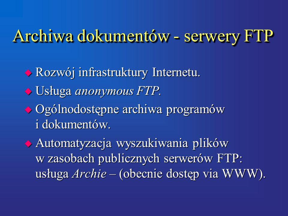 Archiwa dokumentów - serwery FTP u Rozwój infrastruktury Internetu.