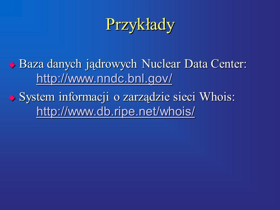 Przykłady  Baza danych jądrowych Nuclear Data Center: http://www.nndc.bnl.gov/ http://www.nndc.bnl.gov/  System informacji o zarządzie sieci Whois: http://www.db.ripe.net/whois/ http://www.db.ripe.net/whois/  Baza danych jądrowych Nuclear Data Center: http://www.nndc.bnl.gov/ http://www.nndc.bnl.gov/  System informacji o zarządzie sieci Whois: http://www.db.ripe.net/whois/ http://www.db.ripe.net/whois/