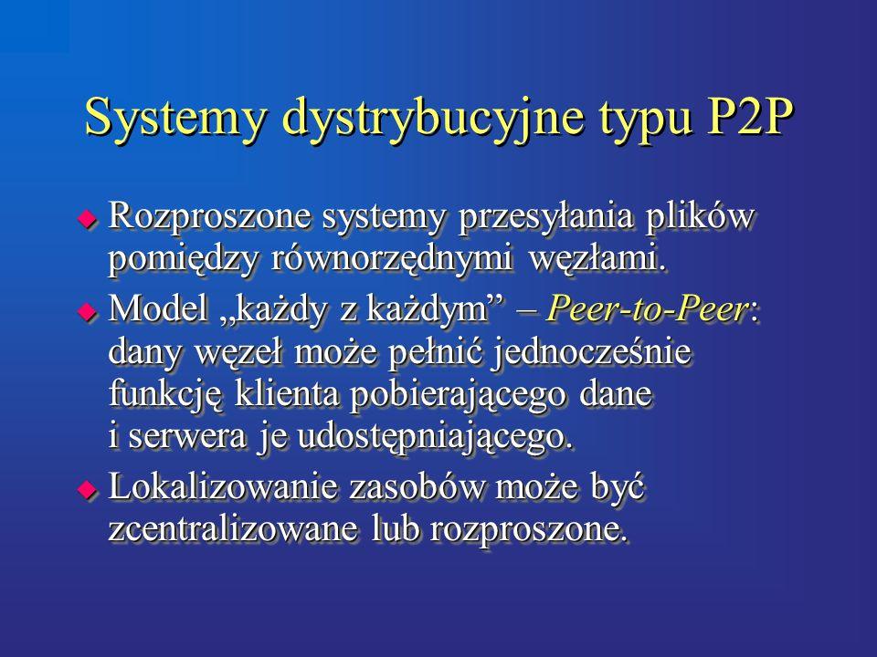 Systemy dystrybucyjne typu P2P  Rozproszone systemy przesyłania plików pomiędzy równorzędnymi węzłami.