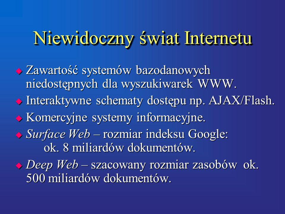 Niewidoczny świat Internetu  Zawartość systemów bazodanowych niedostępnych dla wyszukiwarek WWW.