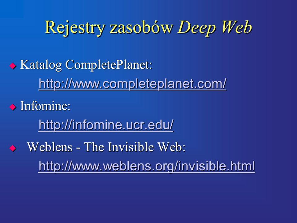 Rejestry zasobów Deep Web  Katalog CompletePlanet: http://www.completeplanet.com/ http://www.completeplanet.com/  Infomine: http://infomine.ucr.edu/ http://infomine.ucr.edu/  Weblens - The Invisible Web: http://www.weblens.org/invisible.html http://www.weblens.org/invisible.html  Katalog CompletePlanet: http://www.completeplanet.com/ http://www.completeplanet.com/  Infomine: http://infomine.ucr.edu/ http://infomine.ucr.edu/  Weblens - The Invisible Web: http://www.weblens.org/invisible.html http://www.weblens.org/invisible.html